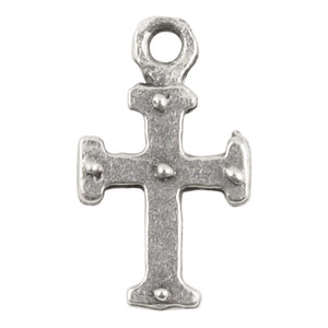 Casting Charm-9x15mm Tiny Medieval Cross-Antique Silver