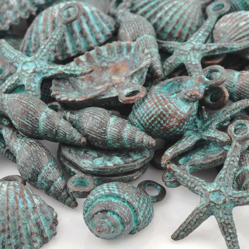 Casting Charm-Beach Mix-Green Patina