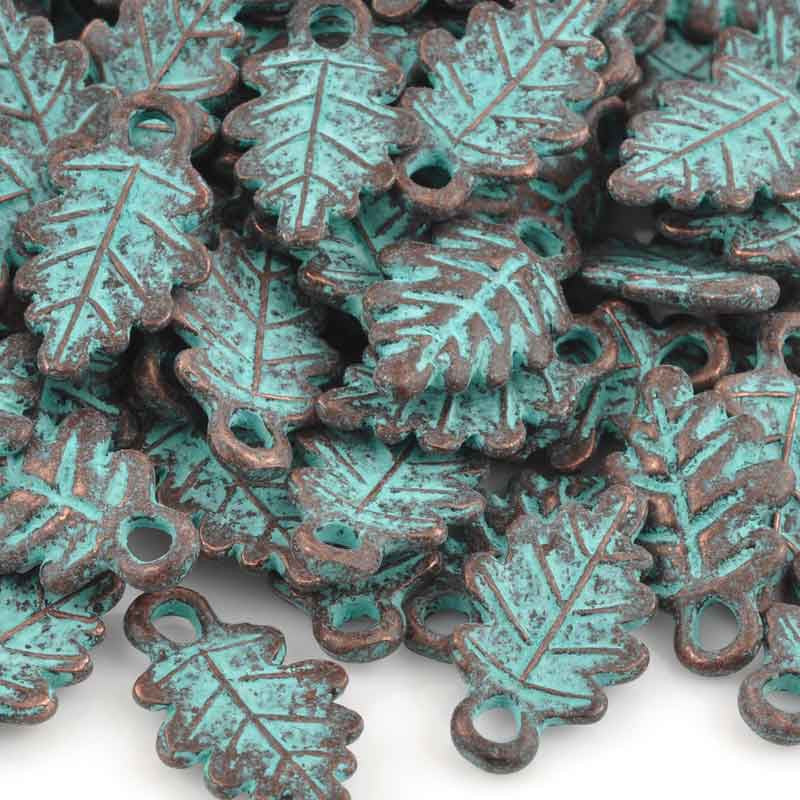 Casting Charm-12x20mm Fall Leaf-Green Patina