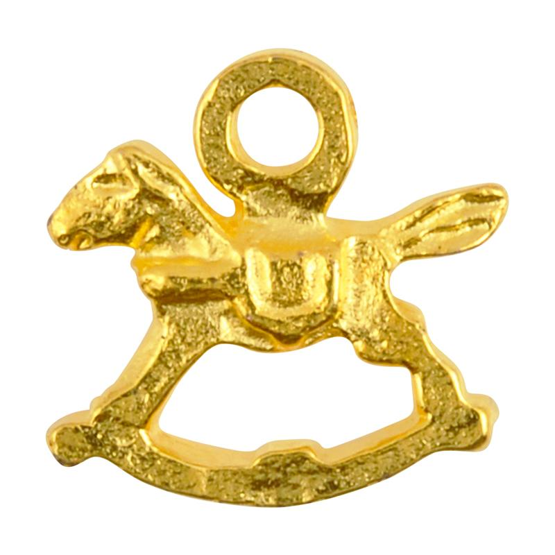 Casting Charm Wholesale-14x15mm Rocking Horse-Gold-Quantity 1