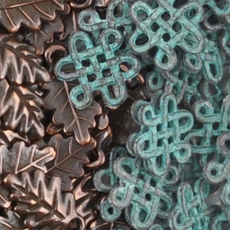Casting Connector-15x16mm Endless Knot-Green Patina
