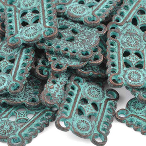 Casting-22x23mm Ornate Connector-Green Patina