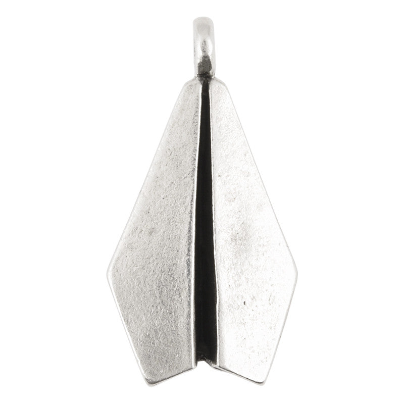 Casting Pendant-17x35mm Paper Airplane-Antique Silver-Quantity 1