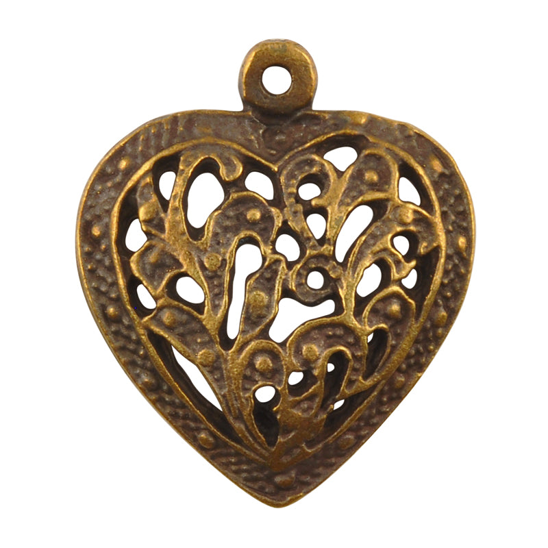 Casting Pendant-24x27mm Ornate Heart-Antique Bronze-Quantity 1