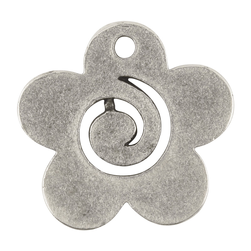 Casting Pendant-30mm Flower Swirl-Antique Silver-Quantity 1