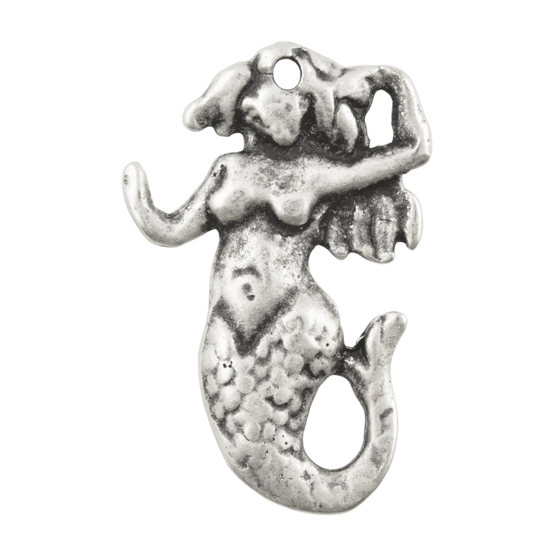 Casting Pendant-31x48mm Mermaid-Antique Silver-Quantity 1