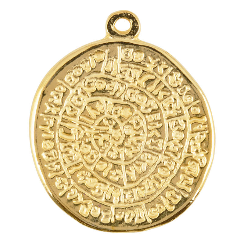 Casting Pendant-32x40mm Phaistos Disc-Gold