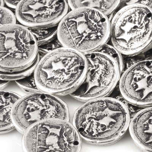 Casting-20mm Coin Pendant-Antique Silver