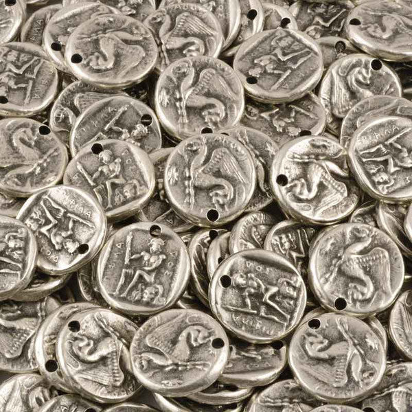 Casting-22mm Coin Pendant-Antique Silver