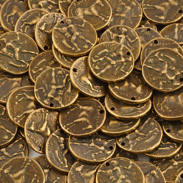 Casting-24mm Coin Lot 9 Pendant-Antique Brass