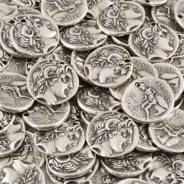 Casting-25x28mm Large Coin Pendant-Antique Silver