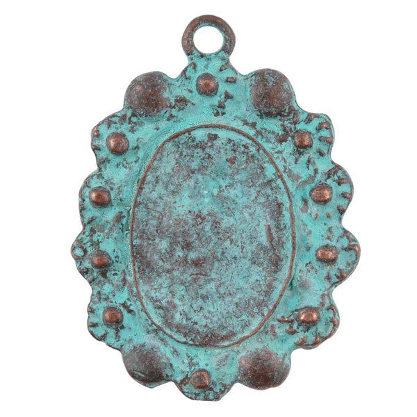 Castings-25x34mm Floral Bezel-Green Patina