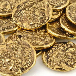 Casting-28x30mm Large Coin Pendant-Antique Gold
