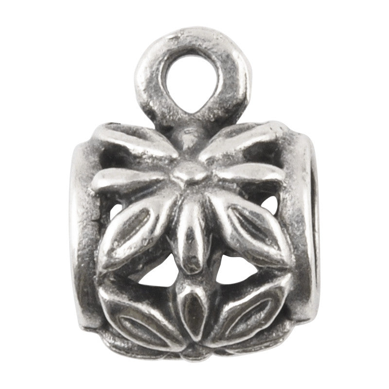 Castings-11x13mm Flower Bail With Ring Casting-Antique Silver