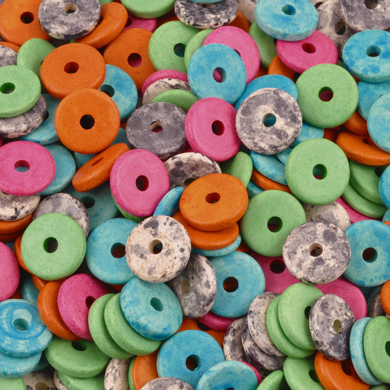 Ceramic Bead Mix-13mm Round Disc-Newsprint-Quantity 25