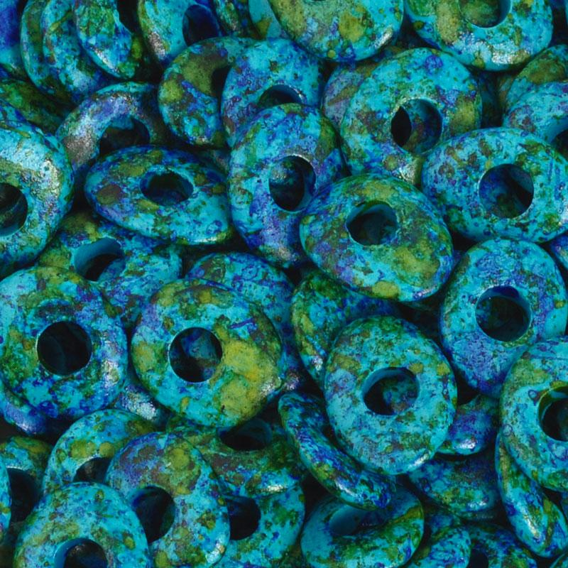 Ceramic Beads-10mm Donut-Teal Blue-Quantity 20