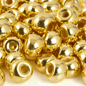 Ceramic Beads-10mm Rondelle Shaped-Gold