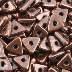 Ceramic Beads-10mm Triangle Disc-Antique Copper