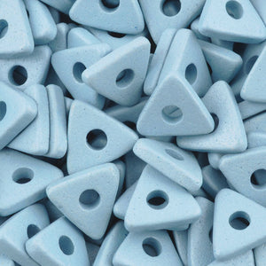Ceramic Beads-10mm Triangle Disc-Arctic Blue