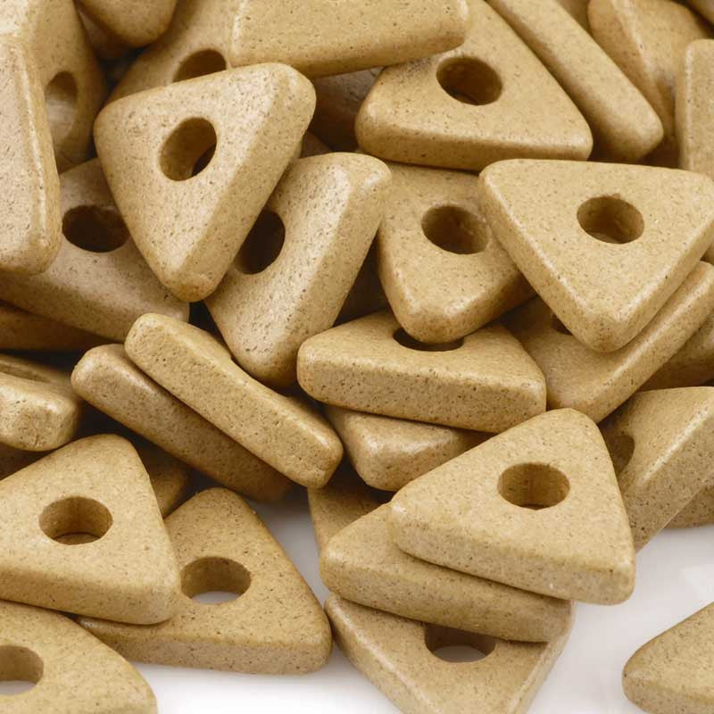 Ceramic Beads-10mm Triangle Disc-Ecru
