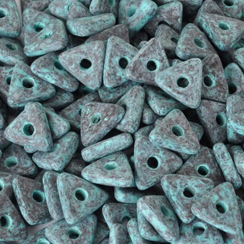 Ceramic Beads-10mm Triangle Disc-Green Patina