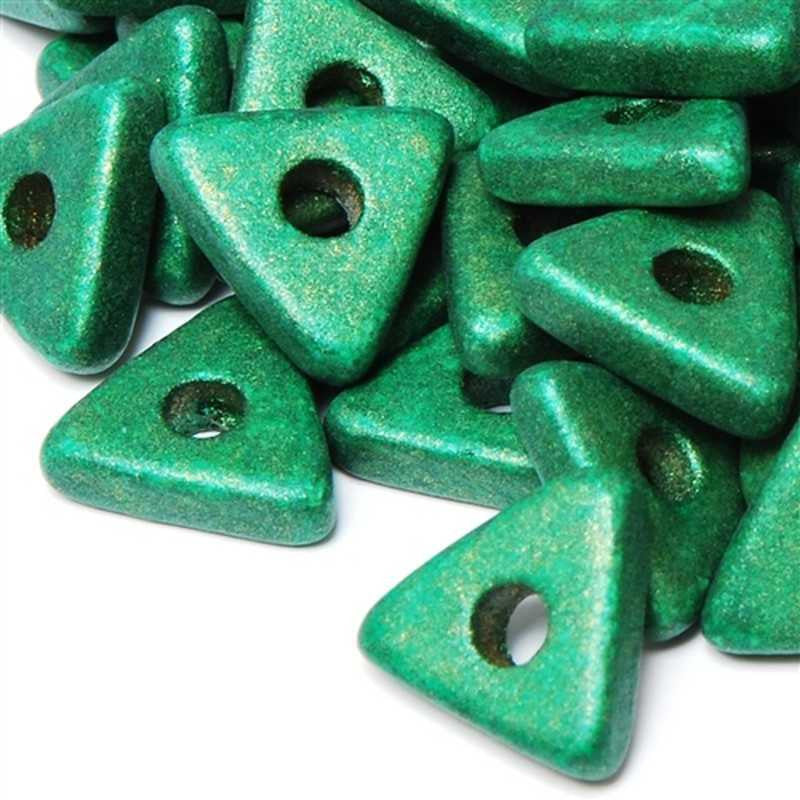 Ceramic Beads-10mm Triangle Disc-Metallic Green-Quantity 25