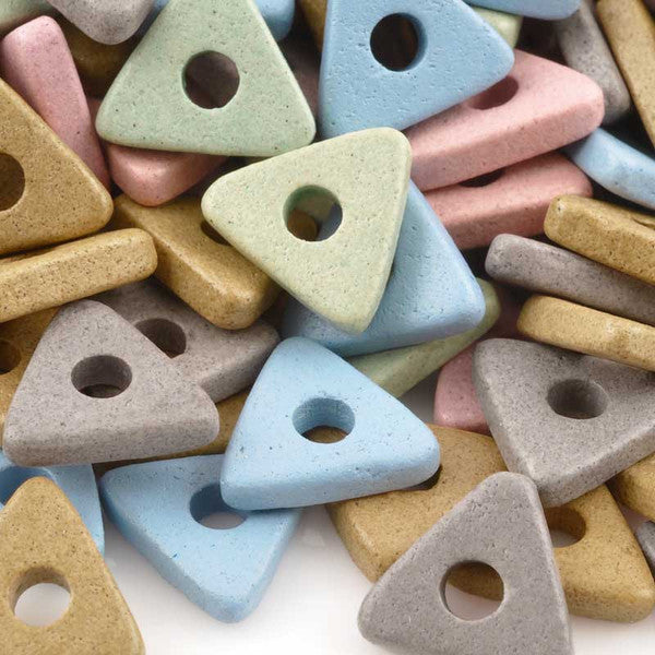 Ceramic Beads-10mm Triangle Disc-Sidewalk Chalk
