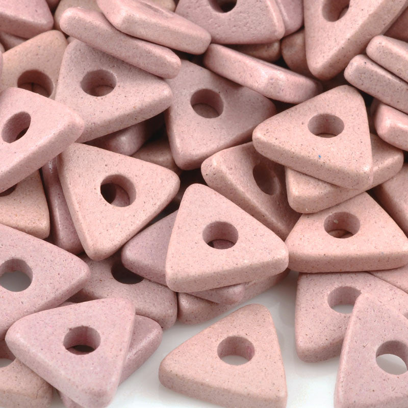 Ceramic Beads-10mm Triangle Disc-Sienna Pink