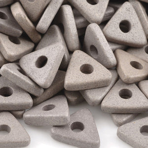 Ceramic Beads-10mm Triangle Disc-Taupe-Quantity 25