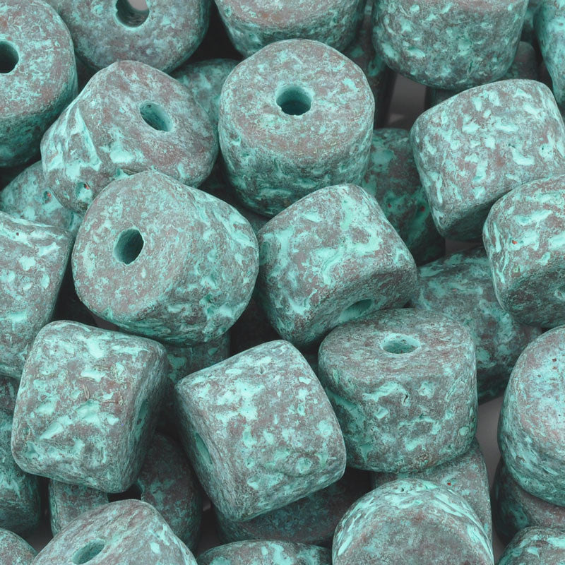 Ceramic Beads-10x13mm Coarse Round Tube-Green Patina