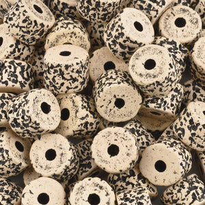 Ceramic Beads-10x13mm Coarse Round Tube-Stone White Black