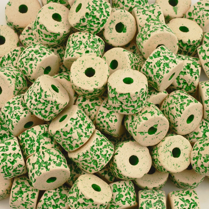 Ceramic Beads-10x13mm Coarse Round Tube-Stone White-Islamic Green-Quantity 2