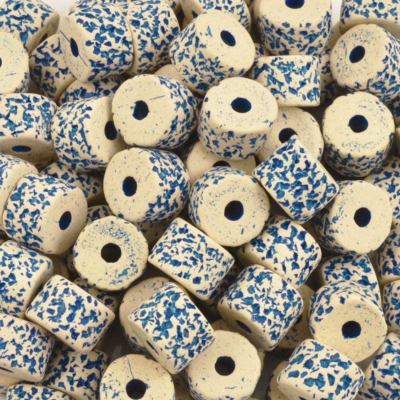 Ceramic Beads-10x13mm Coarse Round Tube-Stone White-Turquoise-Quantity 2