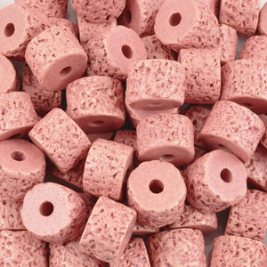 Ceramic Beads-10x13mm Coarse Round Tube-Rose Pink