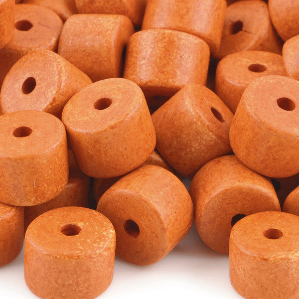Ceramic Beads-10x13mm Round Tube-Tangerine