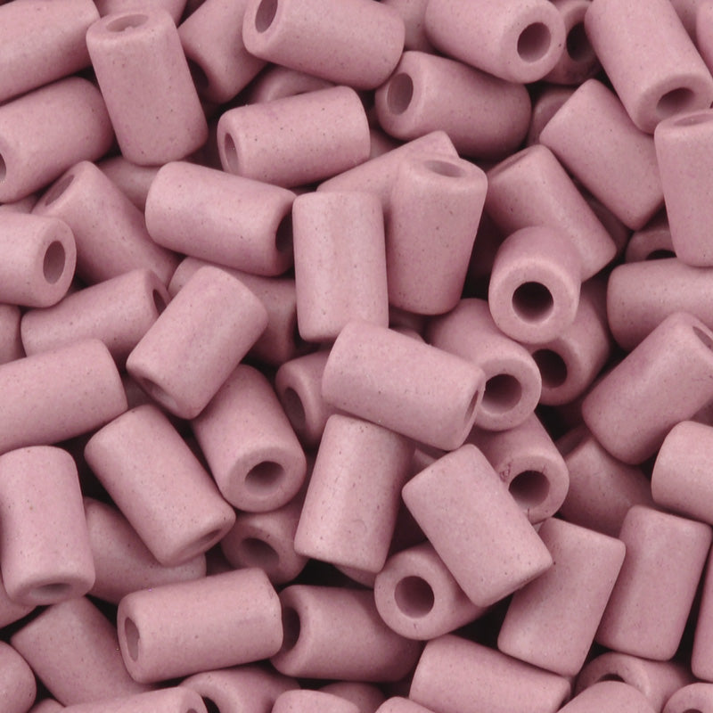 Ceramic Beads-10x5.8mm Tube-Rose Pink