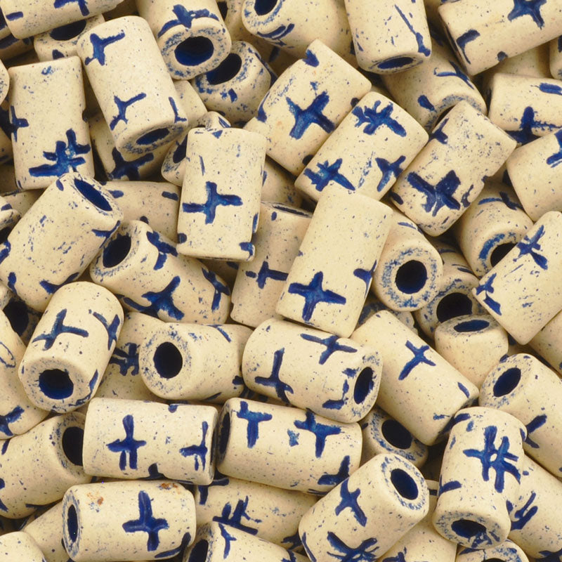 Ceramic Beads-10x5.8mm Tube-Stone White-Ultramarine-Quantity 25