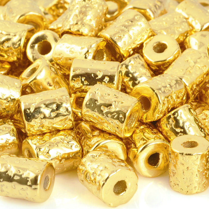 Ceramic Beads-10x9mm Coarse Round Tube-Gold