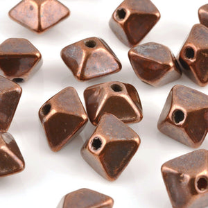 Ceramic Beads-11mm Octahedron-Antique Copper
