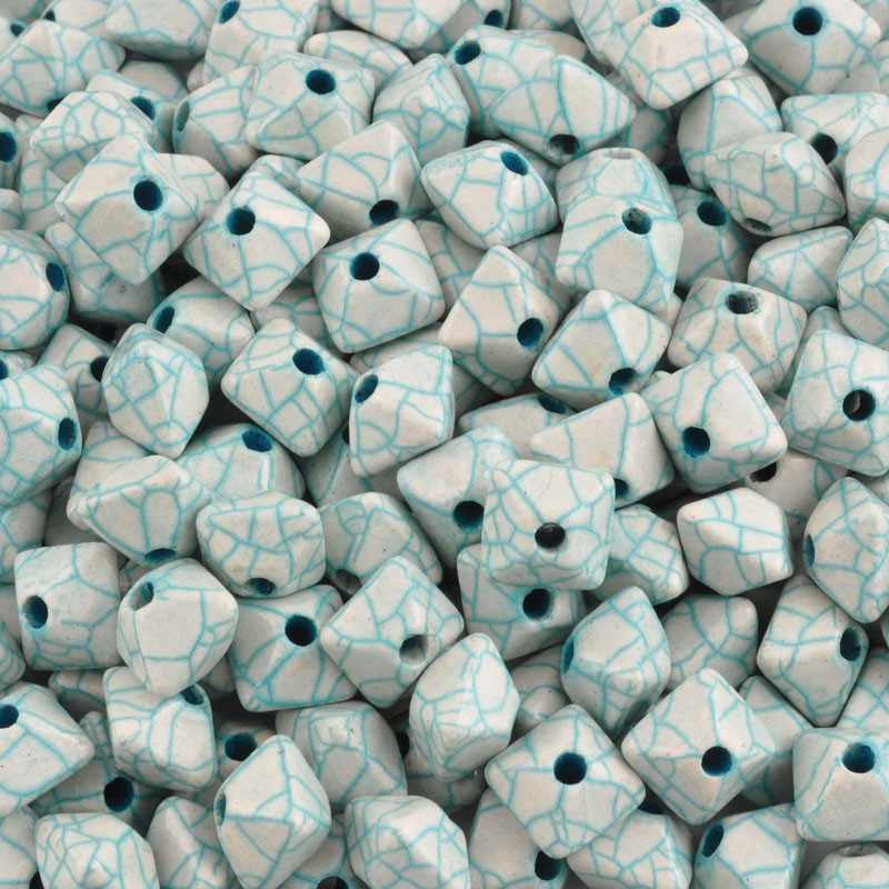 Ceramic Beads-11mm Octahedron-Antique Teal-Quantity 3