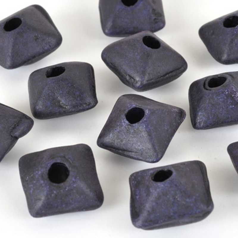 Ceramic Beads-11mm Octahedron-Indigo