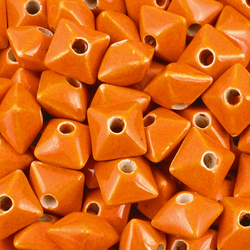 Ceramic Beads-11mm Octahedron-Orange Enamel