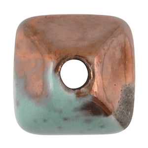 Ceramic Beads-11mm Octahedron-Raku Blue