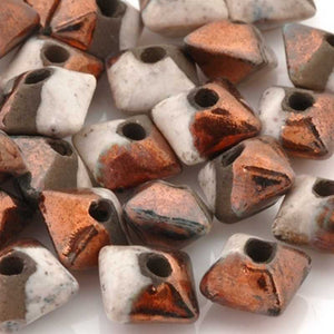 Ceramic Beads-11mm Octahedron-Raku Copper-Quantity 3
