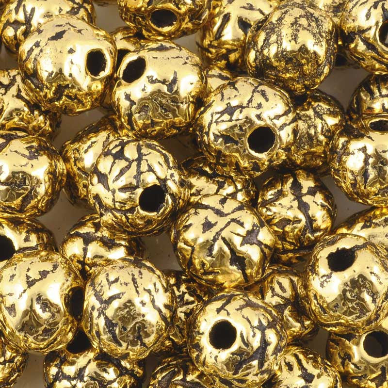 Ceramic Beads-12mm Coarse Round-Antique Gold
