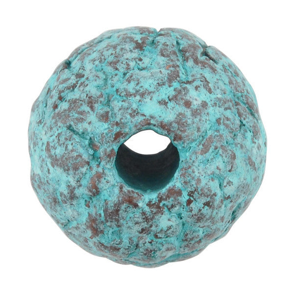 Ceramic Beads-12mm Coarse Round-Green Patina
