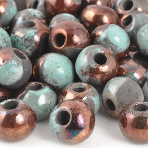 Ceramic Beads-12mm Round-Raku Blue