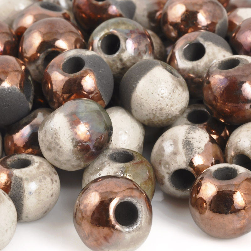 Ceramic Beads-12mm Round-Raku Copper