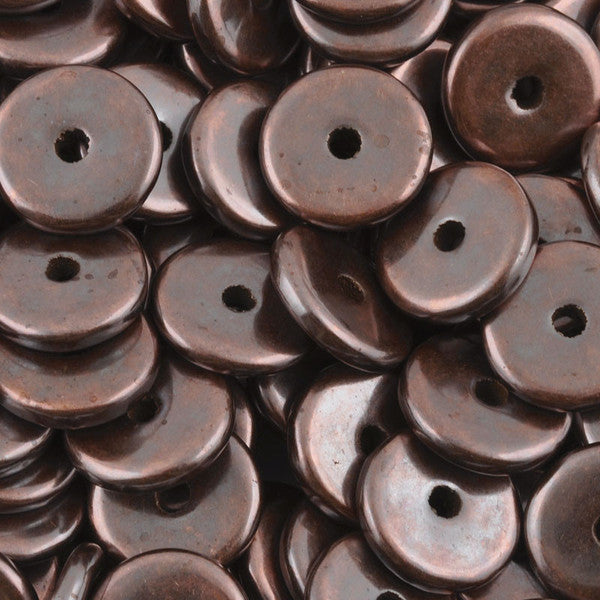 Ceramic Beads-13mm Round Disc-Antique Copper