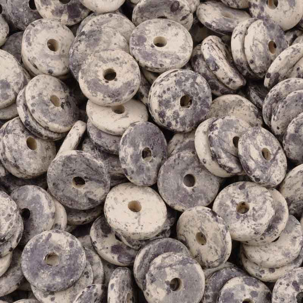 Ceramic Beads-13mm Round Disc-Dark Taupe Splash